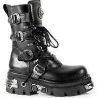 NEWROCK New Rock M.373-S4 Metallic Boots Black Leather Goth Biker Emo Fashion