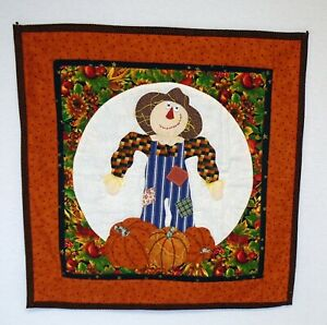 """Applique Scarecrow Pumpkins Fall Autumn Cute Quilted Wall Hanging Decoration 18"""""""