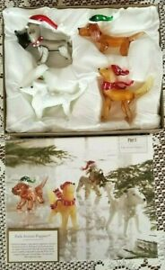 Pier 1 Imports Glass Figurine Set of 4 Park Avenue Puppies - NEW IN BOX - Dogs