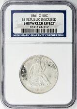 1861-O Seated Liberty Half Dollar Shipwreck Effect SS Republic Inscribed NGC