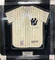 JOE DIMAGGIO SIGNED AUTOGRAPHED JERSEY FRAMED NEW YORK YANKEES JSA BB47597 RARE