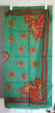 Ladies Green With Flower Pattern Sparkly Square Cotton Scarf