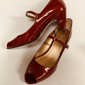 Enzo Angiolini Womens Size 8.5M Red Patent Leather Peep-Toe Heel Pump with Strap