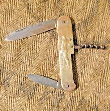 Antique pocket knife brass handle COURSOLLE Couteau figuratif en laiton campagne