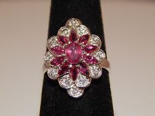 Designer 1.96 tcw Diamond & Natural AAA+ Ruby Cocktail Ring Stunning E/VS 14k WG