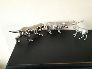Vintage Silver Plated 3 Cast Figures-Dog,Stag & Bull