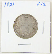 1921 - Canada 25 cents - George V - SILVER Quarter - Graded F12