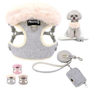 Luxury Fur Collar Pet Puppy Cat Dog Harness +Lead w/Treat Bag Chihuahua Yorkie
