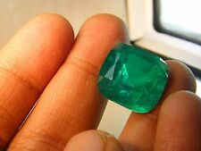 13  LAB STONE DOUBLETS QUARTZ MAN MADE EMERALDS CUSHION 15x15 MM