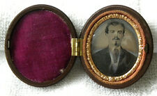 TINTYPE PORTRAIT IN OVAL UNION CASE W/ FLOWERS + CONVEXT GLASS
