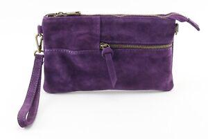 Ladies women's stylish PURPLE SUEDE zip clutch purse wristlet shoulder handbag
