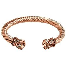 Crystal Tip Bracelet Twisted Metal Cuff Rose Gold Pave Rhinestone Chunky Cable