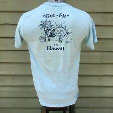 Vintage 80's Hawaii Get Fit - T Shirt - Surf Sailing Snorkeling Beach Sun M