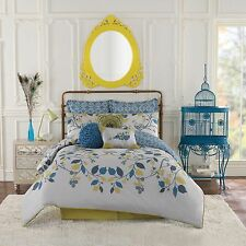 7-Pc Anthology Bloomsbury Full-Queen Comforter Set French Shabby Chic Bird Blue