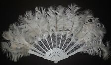 New Natural Ostrich Plumes Plastic Base Lace Overlay Fan Theatrical Dance Item