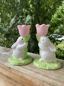 Two Easter, bunny candle holders, holding pink tulip, Hallmark, hand painted NIB