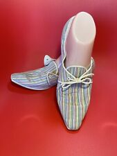60s Pointed Toe Rainbow Striped Ladies Sneakers Flats Size 8