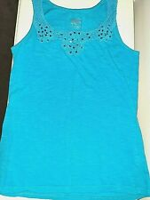 Justice friends make life sweeter Turquoise Embroidered Sequins Tank Top Sz 14