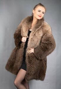 378 GLAMOROUS REAL BLUE FOX FUR COAT LUXURY FUR JACKET BEAUTIFUL LOOK SIZE M