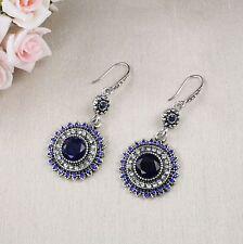 E15 Long Round Festival Boho Ethnic Dangle Hook Earrings in Dark blue