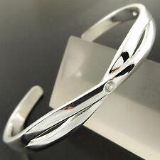 BANGLE BRACELET GENUINE 925 STERLING SILVER S/F SOLID DIAMOND SIMULATED DESIGN