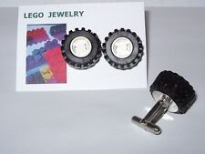 LEGO RUBBER WHEEL TIRE BLACK  AND WHITE CUFFLINKS IN GIFT BOX CUFF LINK