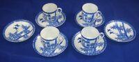 Vintage JAPANESE PORCELAIN Teacups Saucers HAND PAINTED Demitasse Set Blue Tiki