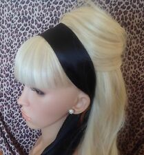 BLACK SATIN HAIR SCARF HEAD BAND SELF TIE BOW 50s RETRO GLAMOUR VINTAGE STYLE