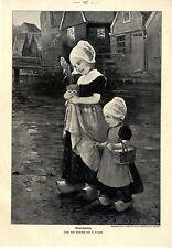 Kleine Mädchen in Tracht Gratulanten E. Louyot Histor. Druck v. 1903
