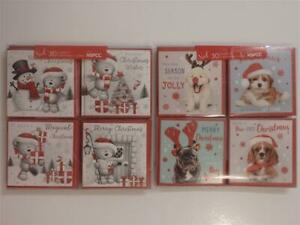 Pack of 30 Mini Glittered Christmas Cards ~ Bears or Dogs (Choice of 2)