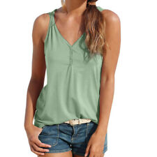 Beach Womens Summer V-Neck Strappy Vest Tops Sleeveless Blouse Casual Loose CA