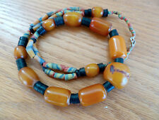 Copal Amber Trade Bead Necklace A Clam Shells Beads  22""
