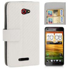 Book Tasche Weaving in weiß für HTC Butterfly Hülle Case mit Aufstellfunktion