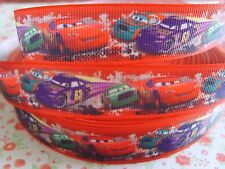1 M x Disney Car Lightning McQueen Printed Grosgrain Ribbon Craft 22mm Bow *UK*