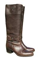 PRADA 1250 € logo Équitation Bottes Chaussures Marron CERVO GENUINE LEATHER sz 39.5 UK 6.5