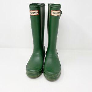 Hunter Green Kids Rubber Rain Boots Size 1 Youth Boy Girl Unisex