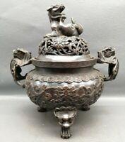 Collect royal copper bronze dragon loong God beast Statue big Incense burner pot