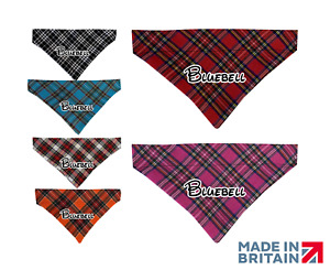 Personalised Pet Bandana Handmade Tartan Slide On Collar Dogs Cats Neckerchief
