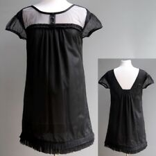 Designer Black Baby Doll Style Dress Black Sheer Net 100% Silk Lined Pleated S M