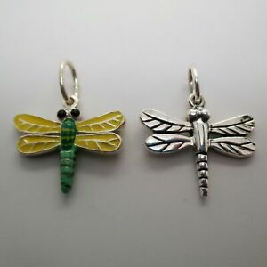 Sterling Silver or Hand-enameled DRAGONFLY Charm for Bracelet PENDANT Insect BUG