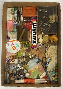 Vintage Junk Drawer Lot Collection Jewelry Buttons Marbles Cufflinks Gold Silver