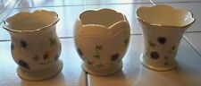 3 Lenox China Pansies Flowers & Butterflies Votive Candle Holders