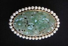 Antique Water Jadeite Jade, Pearl, 14K Brooch