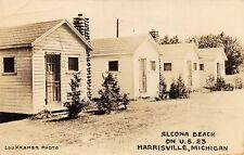 HARRISVILLE Michigan US USA postcard ALCONA County Beach cabins Kramer photo