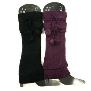 (2 Pack) Cozy Women Leg Warmers Knee High Knit Crochet With Pom Poms Winter Lot