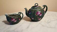 Antique Moriage Voilet Floral Teapot and Creamer