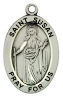 Saint St Susan Pray For Us Pendant 1 1/16 Inch Sterling Silver Medal