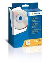 100 St. CD/DVD-Papierhüllen, weiß, 12,4 x 12,4 cm, mit Klebefläche, HERMA 1140