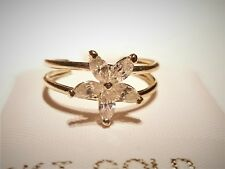 14K Pure Solid Yellow Gold Adjustable Cubic Zirconia Flower Toe Ring