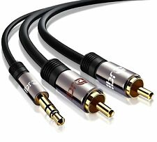 1m PRO OFC 3.5mm Stereo Jack to 2 x RCA Phono Plugs Cable Gold - ( Jack to RCA )